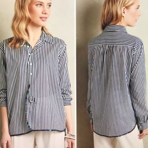 Anthropologie Holding Horses Navy striped button l